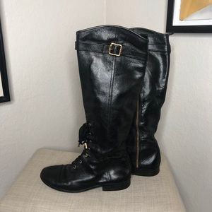 Tory Burch Leather Lace Up Boots